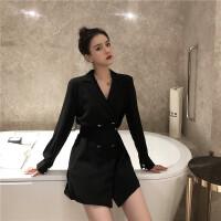 韩风女神气质V领七分袖连衣裙女双排扣修身显瘦不规则A字短裙子