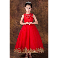新款时尚儿童礼服拖尾公主裙蓬蓬裙 女童走秀演出服晚礼服花童婚纱