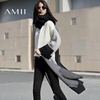 【AMII 超级品牌日】AMII[极简主义]2017年春新款时尚落肩袖中长毛衣女开衫外套11612442