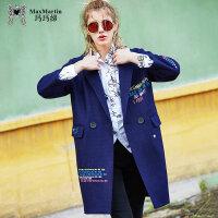 玛玛绨2017冬装新款刺绣宽松中长款毛呢外套女时尚风衣呢子大衣潮