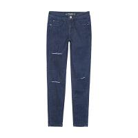 美特斯邦威秋装女高品质紧身牛仔长裤246657 S