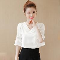 夏装短袖雪纺衫韩版女装上衣小衫 夏天女士半袖T恤衣服打底衫 白色