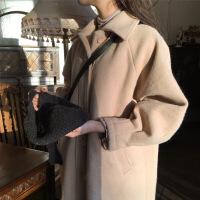 2018流行外套女冬学生森系韩版新款中长款宽松茧型加厚毛呢大衣 杏色夹棉加厚 XS