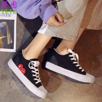 夏季内增高女鞋帆布鞋板鞋运动休闲鞋网红鞋