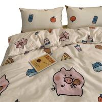 全棉纯棉三件套四件套学生宿舍小猪床单被套