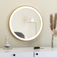 北欧化妆镜台式LED智能桌面梳妆台镜圆形壁挂卧室ins网红补光镜子