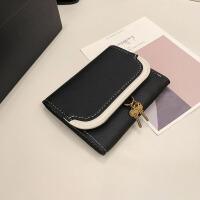 女士钱包2018新款韩版撞色短款折叠钱包钥匙挂坠零钱夹手拿包现货