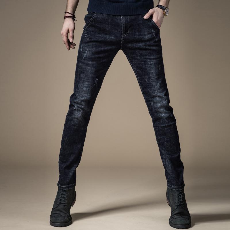 牛仔裤男秋冬新款加绒加厚男士牛仔裤韩版修身男裤子小脚长裤子潮 黑蓝色 JK9 发货周期:一般在付款后2-90天左右发货,具体发货时间请以与客服协商的时间为准