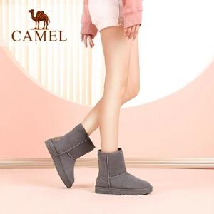 camel/骆驼女鞋2017秋冬新款韩版百搭雪地靴女平底保暖中筒靴