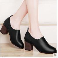 百年纪念粗跟鞋女秋新款冬韩版深口百搭黑色高跟鞋圆头休闲鞋1373