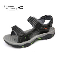 骆驼动感(camel active)男凉鞋夏季牛皮露趾防滑减震魔术贴户外沙滩鞋