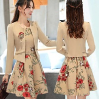 2019女装秋季长袖连衣裙显瘦印花套装裙两件套连衣裙