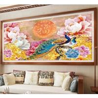 新款客厅钻石画牡丹福孔雀点钻十字绣满钻古典花开富贵手工贴砖画