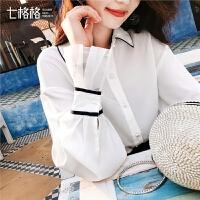 七格格蕾丝拼接白衬衫春装2019款女长袖韩版学院风洋气上衣显瘦秋