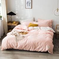 纯色简约全棉水洗棉四件套纯棉床上用品套件床单被套床笠款三4件套学生宿舍三件套