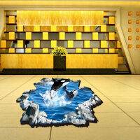 御目 墙贴 3D地面鲨鱼跳跃贴画浴室儿童房装饰贴可移除防水耐磨PVC贴纸满额减限时抢礼品卡家居用品