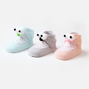 Yinbeler2双礼盒装】宝宝袜子精梳棉0-1岁春秋季新生婴儿卡通袜立体猫头鹰防滑地板袜