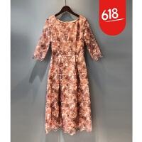 蕾丝连衣裙2018春新款女修身显瘦长款镂空刺绣拼接网纱仙女长裙子GH17401 花色