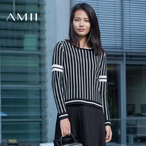 AMII[极简主义]冬时尚休闲舒适圆领撞色条纹毛衣女11671796