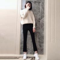 黑色牛仔裤女秋冬2018新款韩版显瘦九分阔腿chic微喇叭裤加绒八分