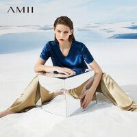 Amii极简气质百搭醋酸雪纺上衣女2021年夏季新款设计感V领短袖T恤