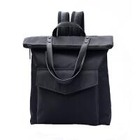 牛津布双肩包男士商务旅行背包大容量潮牌书包女学生简约 黑色