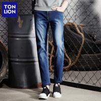 【2件3折价54.5元】唐狮春季新款牛仔裤男装青少年弹力韩版加绒修身小脚牛仔裤