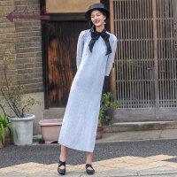 生活在左2019春款新品绣花亚麻蓝色中袖中国风改良旗袍裙连衣裙女