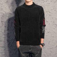 秋冬男士圆领毛衣雪尼尔针织衫青年韩版修身纯色打底衫羊毛衫线衣 黑色 809
