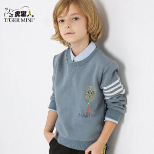 小虎宝儿童装男童卫衣春秋2018新款 韩版儿童套头外套春季新品