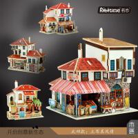 若态3D立体拼图拼板儿童木制质手工DIY创意玩具土耳其风情小屋