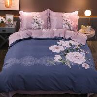 【夏季新品】加厚全棉磨毛四件套纯棉床单被套双人简约大气1.5米1.8m床上用品【】