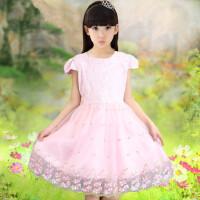 童装女童连衣裙儿童蕾丝短袖公主裙中大童小女孩纯色裙子