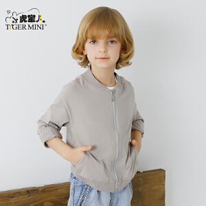 小虎宝儿童装男童空调衫外套休闲开衫儿童棒球款夹克2017春夏新款