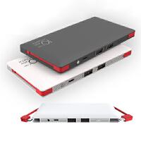 BaaN 4输出移动电源带线卡片powerbank10000毫安机线一体充电宝 纯白色