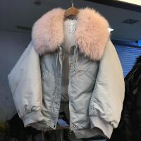 反季羽绒服女短款韩版大毛领时尚斗篷型宽松加厚2018新款白鸭绒潮 均码