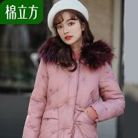 棉立方休闲棉衣外套女冬季2018新款中长款加厚大毛领韩国工装