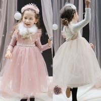 女童公主裙儿童长袖蓬蓬网纱裙仙气连衣裙礼服