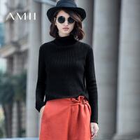 AMII[极简主义]冬季套头高领保暖大码混纺羊毛衫短款毛衣女装