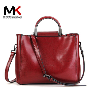 【送手包】新款牛皮女包单肩包欧美时尚油蜡牛皮女手提包斜跨包大容量休闲货到付款包包