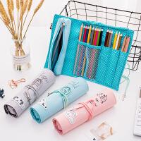 卷笔帘男女韩国可爱小清新大容量文具盒初中学生小学生创意铅笔袋