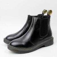 粗跟马丁靴女短靴加绒冬季英伦风靴子新款韩版平底尖头瘦瘦靴 圆头光面牛皮 加绒