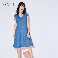 【AMII 超级品牌日】Amii[极简主义] 2017夏装新品V领半袖直筒丹宁牛仔连衣裙11732992