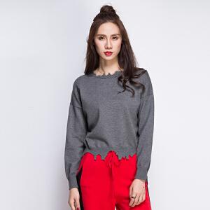 2017新品短款上衣长袖狗啃圆领蝙蝠衫女士毛衣针织衫