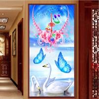 钻石画客厅竖版玄关心心相天鹅湖婚礼5D十字绣幸福蓝蝶钻石绣新款