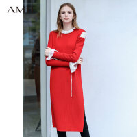 Amii极简ulzzang设计感法式复古连衣裙春新款圆领宽松针织裙