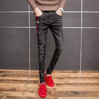 2018新款秋冬季男生黑色小脚牛仔裤长裤青年修身男装个性刺绣简单 黑色
