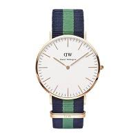 【品牌热卖】【香港直邮】丹尼尔・惠灵顿(Daniel Wellington)英伦学院风 男士蓝绿条尼龙表带石英腕表01