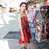 沙滩裙海边度假裙红色露背连衣裙女夏吊带裙短裙 红色 拍下送乳贴