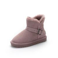 №【2019新款】冬天小朋友穿的�和�雪地靴女童男童防水棉靴子加�q毛�敉馔�鞋